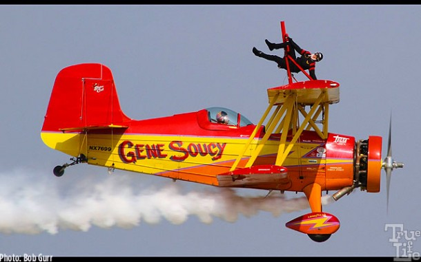 Wing walking Grumman Agcat started out as an agricultural plane