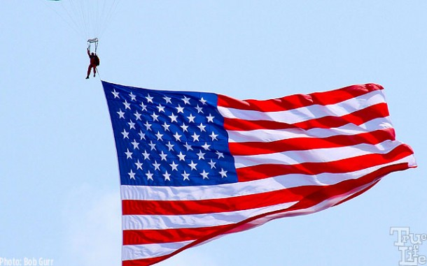 The daily shows open with a parasail flag and the national anthem