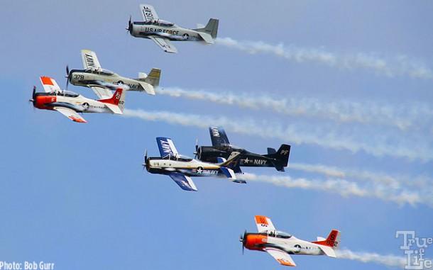 A squadron of Grumman T-28 Trojans display various service colors