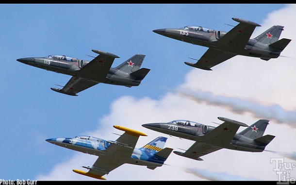 A 4-plane pass of L-39ZO Albatros, a very popular European fighter trainer