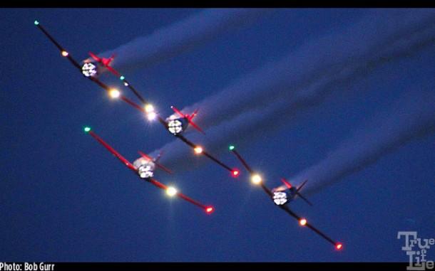 Aeroshell aerobatic team lighting up the night sky