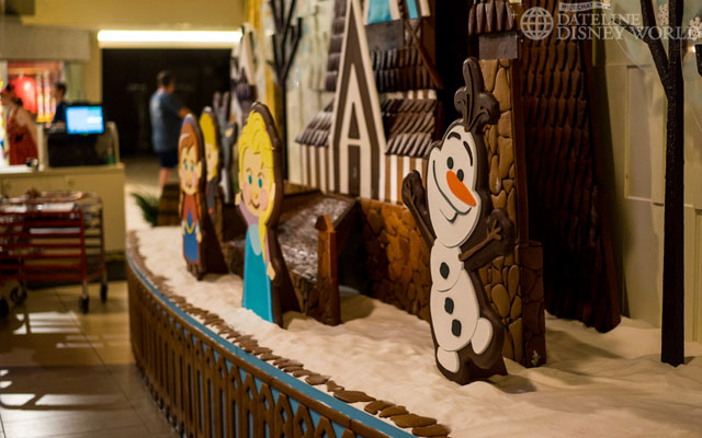 At the Contemporary, there is a Frozen themed gingerbread display.