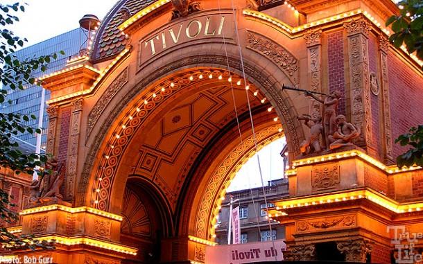 Main entrance to the historic Tivoli Gardens with beautiful night lighting