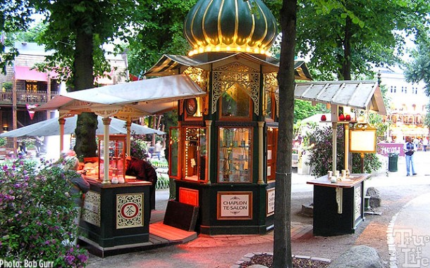 This little kiosk has a goofy blend of styles and themes - works for Tivoli