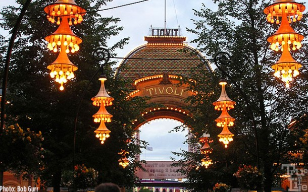Walkways in side the Gardens feature fanciful hanging lanterns