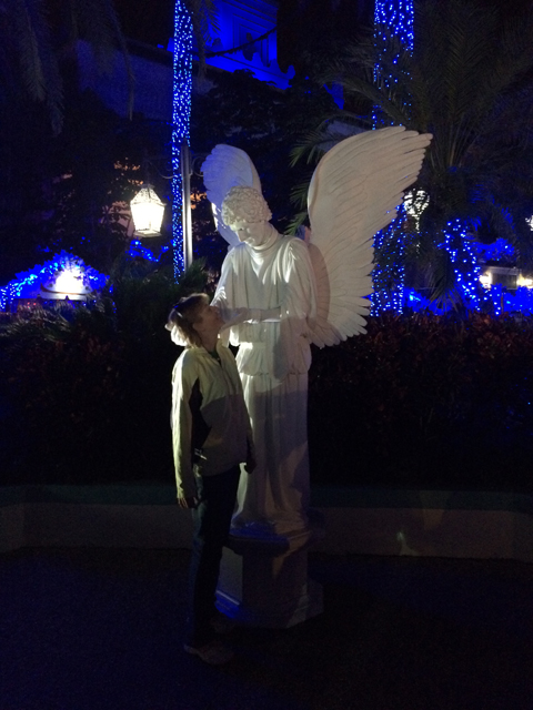 The popular Living Angel statue is back entertaining guests. Just don't blink!