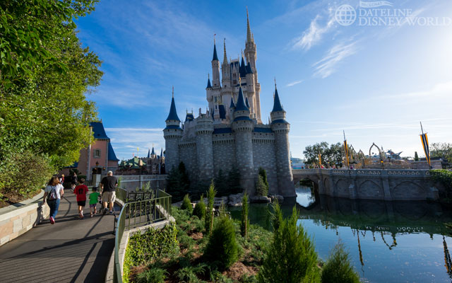 Some of the large trees along this walkway by Cinderella Castle have been cut down and replaced with new, smaller trees.
