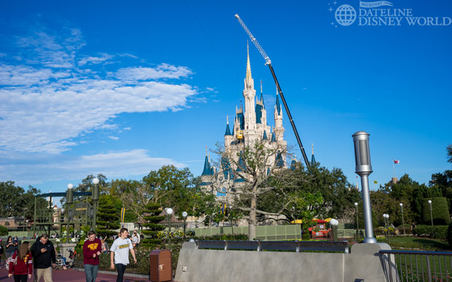 The crane is also up to remove the dream lights from Cinderella Castle.