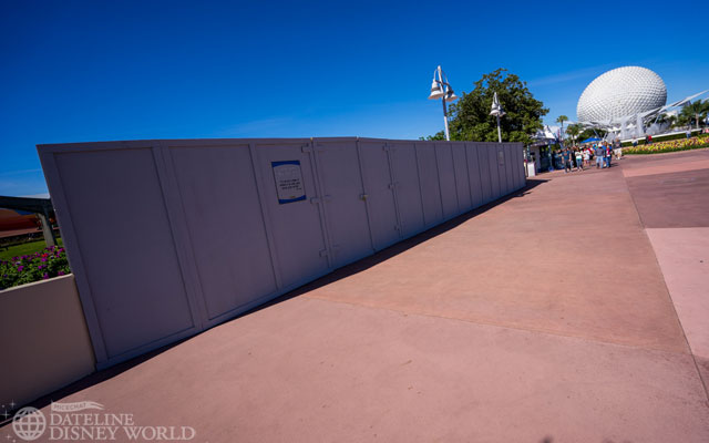 Walls up on the path from Future World to World Showcase.