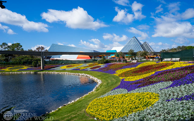 The flower beds are fully installed on the Imagination/Soarin' side of the park.