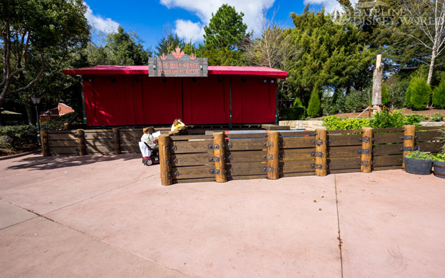 The temporary walls are down and a perfect wall is up for the Lumberjack stage.