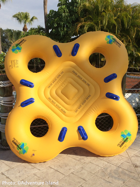 The clover-shaped Colossal Curl rafts can seat up to four riders.