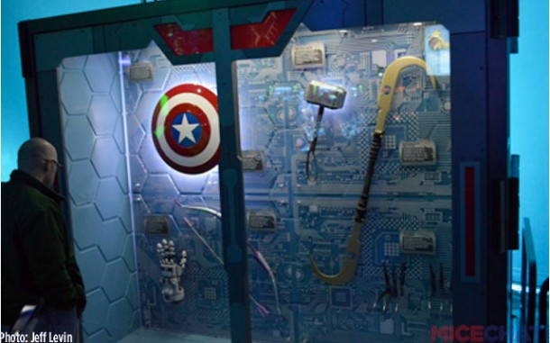 Some neat character props reminiscent of Disneyland's Innoventions in its current Marvel state.