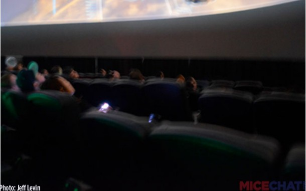 A blurry image of the general seating setup and some of the dome projections.