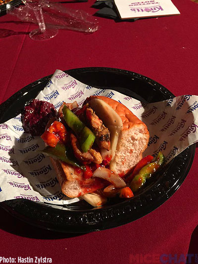 Boysenberry Chicken & Sausage Sandwich served on Knott's Fresh Boysenberry Bun: