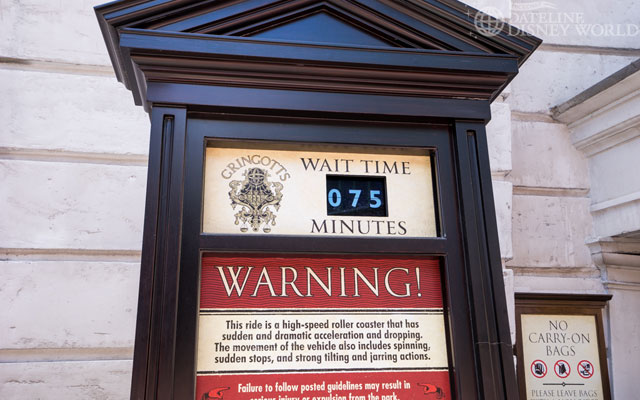 75 minutes for Gringotts, and the single rider line was closed because it was full.