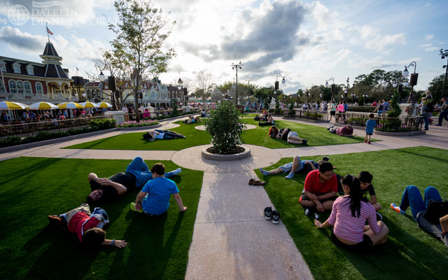 Wide open spaces where people can sit and relax during their MK day.
