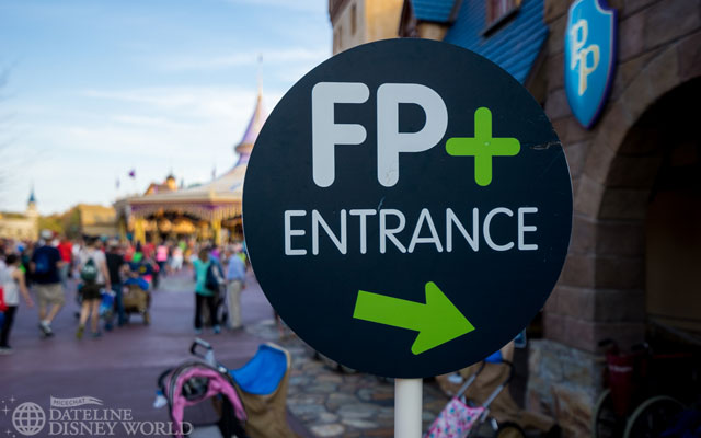 Giant FP+ sign outside Peter Pan's Flight.