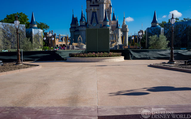 New pavement near the still covered Partners statue.
