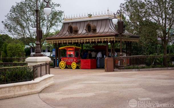This section by Tomorrowland in the Hub is now done and has food and beverage service inside.