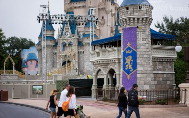 All of the new turrets by Cinderella Castle are now out from behind tarps.