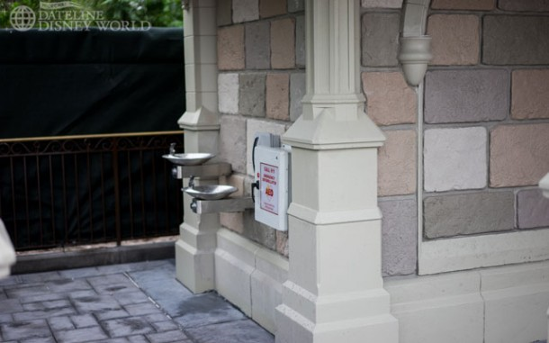 Water fountains in one of the new turrets.