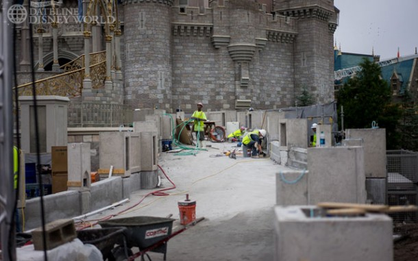 Work being done to change the walkway up to the Castle.