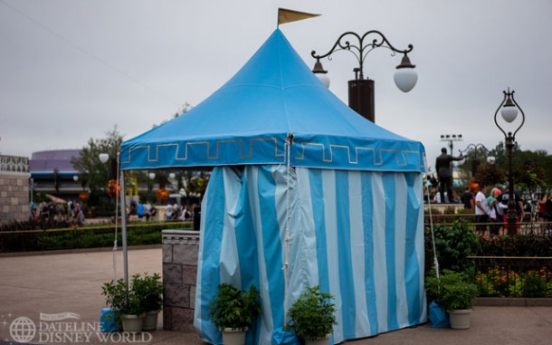 Temporary tents for show control in the Hub.