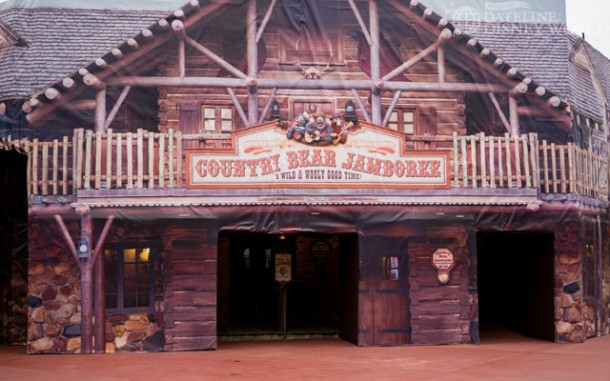 Country Bear exterior getting a touch up. Attraction is still open though.