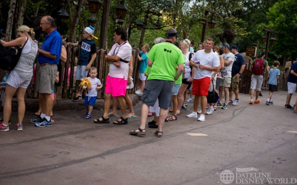 Even on a slow day at 9:30am, Mine Train had a 45 minute wait.
