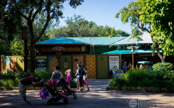 Work is still happening on the far side of this gift shop in Discovery Island across from Flame Tree BBQ.