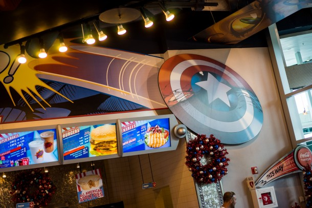 Yes, it is October. And yes, the Captain America Diner has Christmas decor in place.