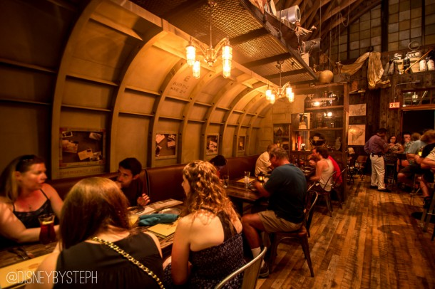The left side is booths and tables built out of an old airplane interior.