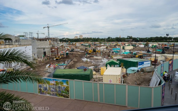 Work continued on Disney Springs towards its 2016 completion date.