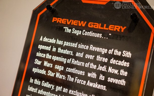 Moving on, the next room is all about Episode VII - The Force Awakens. There are some mild spoilers here, so if you don't want to know anything about the new movie, scroll down until you see merchandise photos.