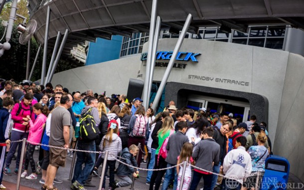 90 minute wait at 10am for Test Track. Expect that to grow now that Soarin' is closed.
