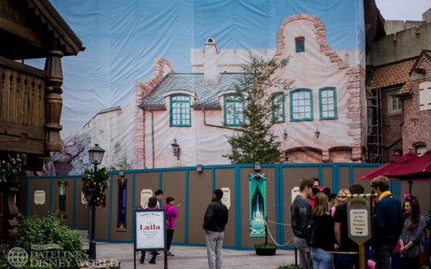 Construction walls for Frozen Ever After now extend all the way out near the Akershus restaurant.