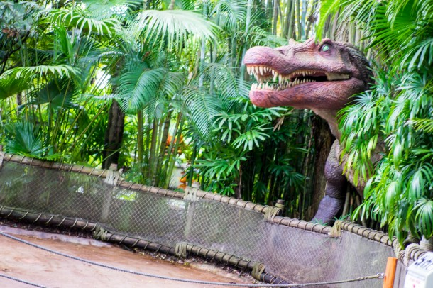 Jurassic Park vehicle missing for refurbishment.