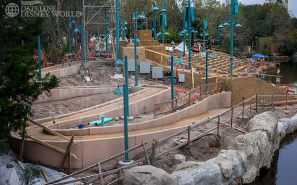 A view at some of the progress on the seating area for Rivers of Light, which opens this year.