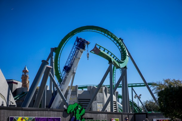 Some pieces of the Incredible Hulk Coaster are back in place as this ride will return in the summer.