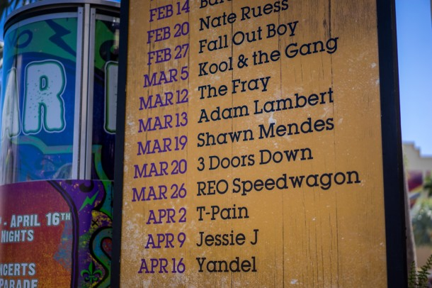 Mardi Gras is still running strong, and when Fall Out Boy was here over the weekend, it reportedly brought the park to capacity.