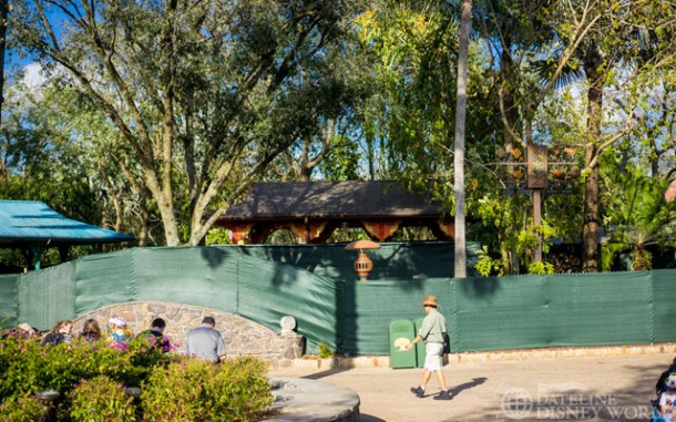 Tarps up near Flame Tree BBQ.