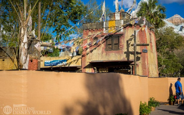 Tarp walls up near where the old FP location was converted to a snack bar.