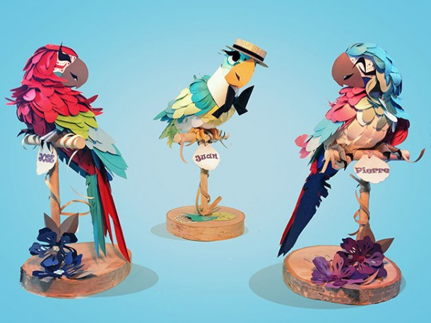 Jose, Juan the Barker Bird and Pierre paper sculptures