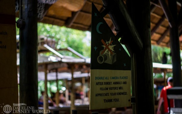 These signs advising against flash photography are new for the nighttime safari. But, with Rivers of Light being delayed, we aren't sure when these nighttime rides will start.