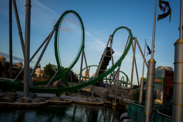 The Incredible Hulk Coaster is all together and work is mostly happening on the queue building and launch tube now.