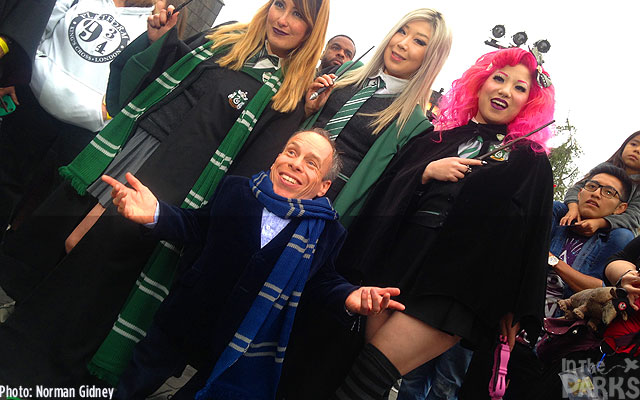 Star Warwick Davis Stopped to talk to guests in the land.  (Go Slytherin!)