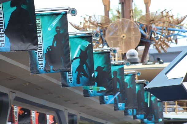 Banners on the south edge of the old Peoplemover tracks show characters from the Star Wars saga on the Light Side of the Force.