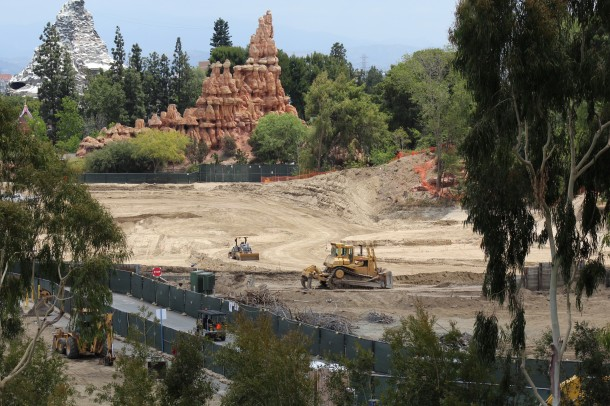 With the berm gone, you can see into what used to be the north end of the Rivers Of America.