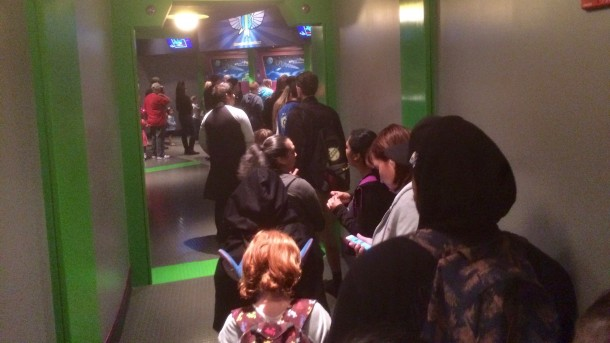 The line snaked into the exit of Buzz Lightyear to the back entrance of Store Command.